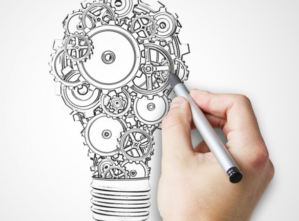hand drawing bulb with gears and cogs